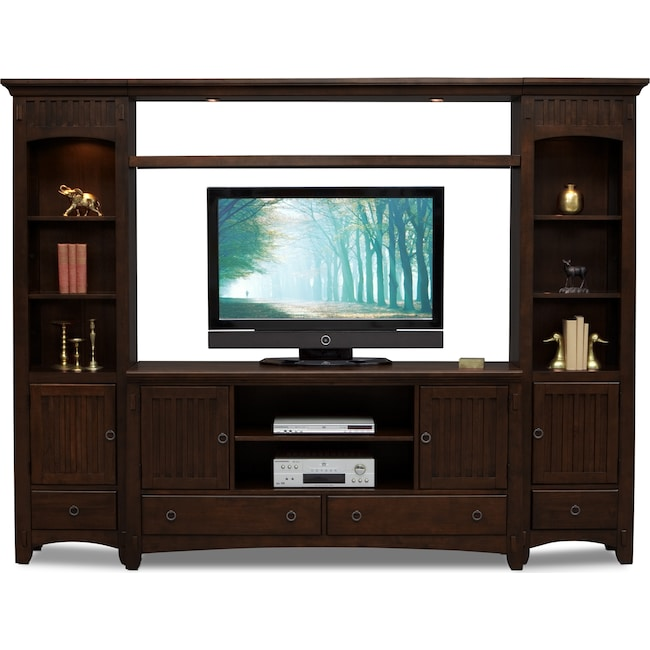 Entertainment Furniture - Arts & Crafts 4-Piece Entertainment Wall Unit - Chocolate