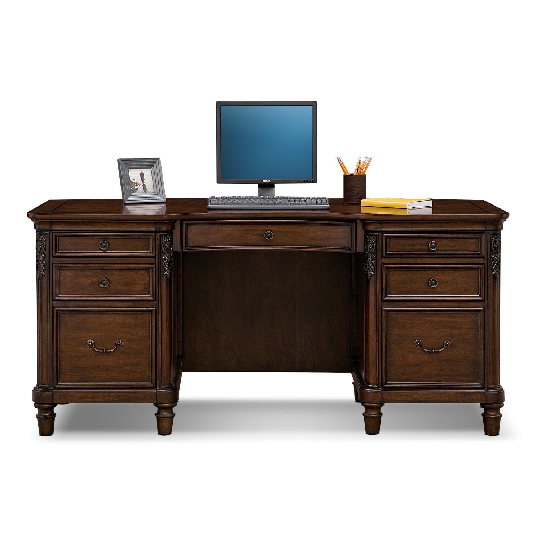 Warm Cherry Executive Desk Home Office Collection: Ashland Executive Desk - Cherry