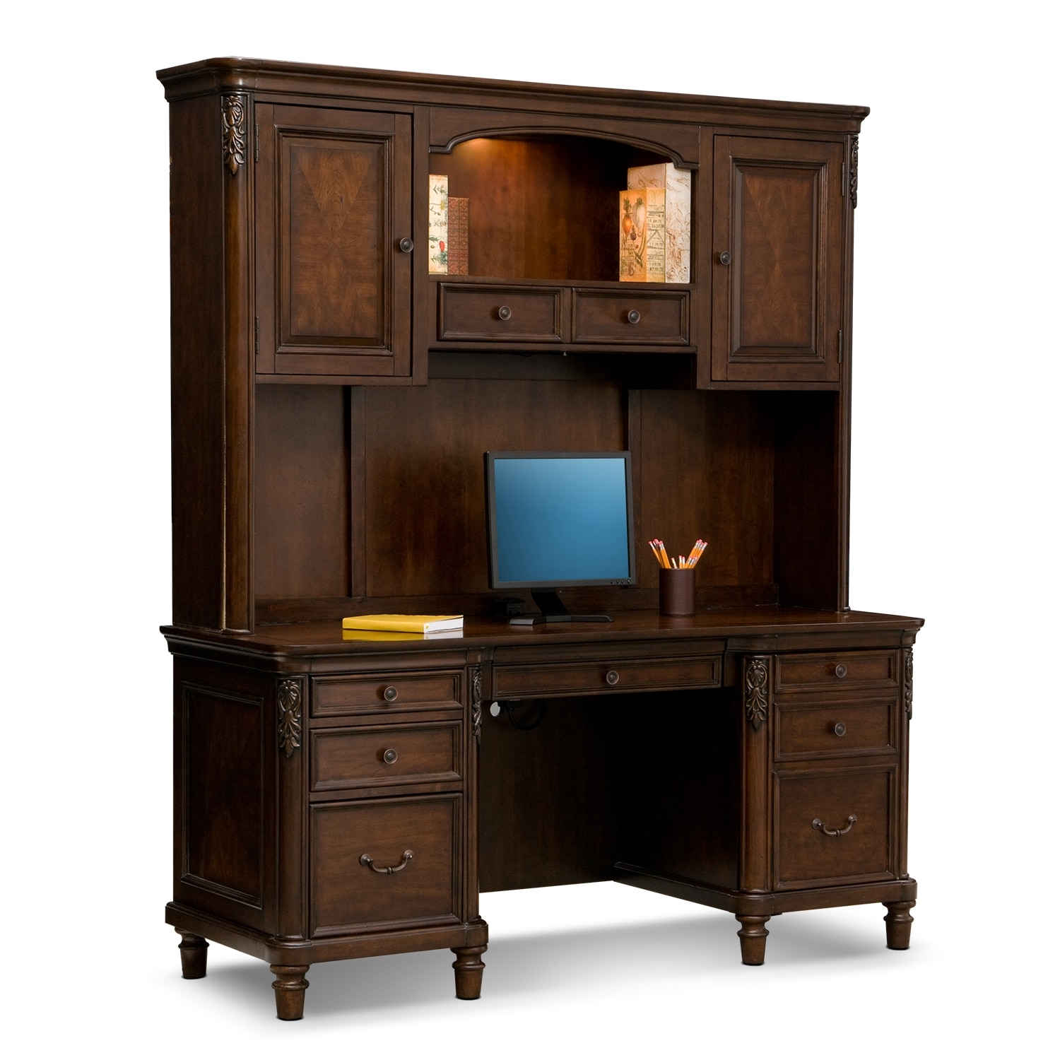 Ashland Credenza Desk with Hutch - Cherry