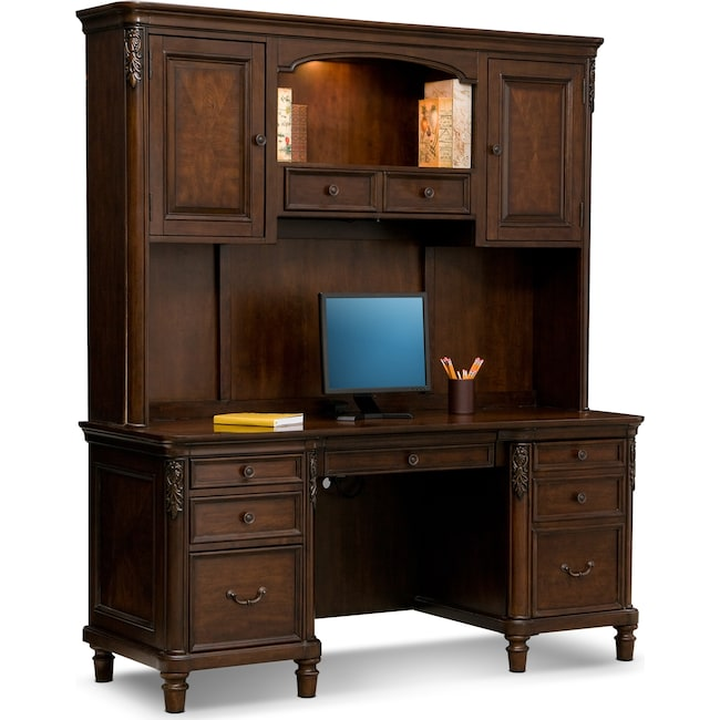 Home Office Furniture Ashland Credenza Desk With Hutch Cherry
