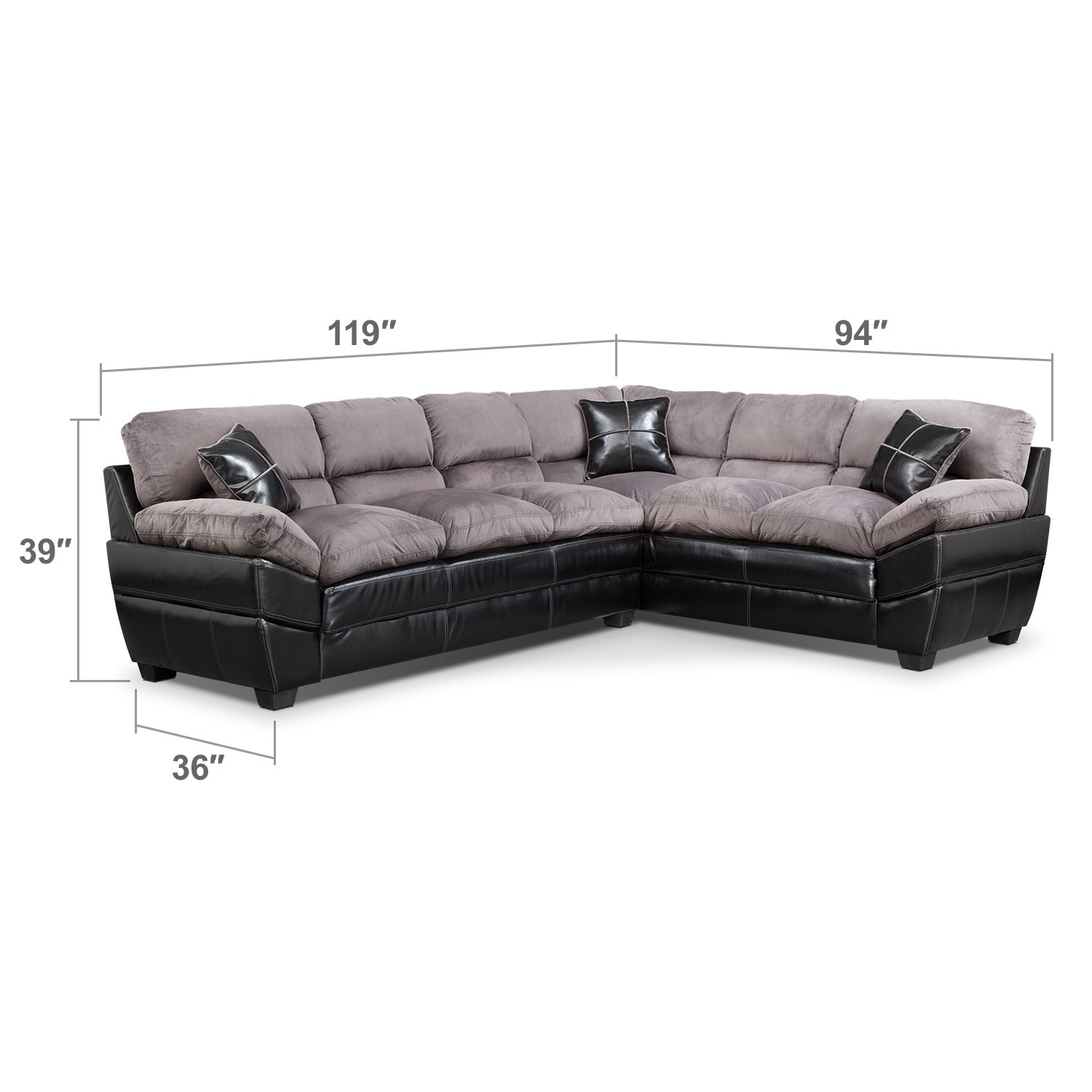 Living Room Furniture - Chandler Gray II 2 Pc. Sectional