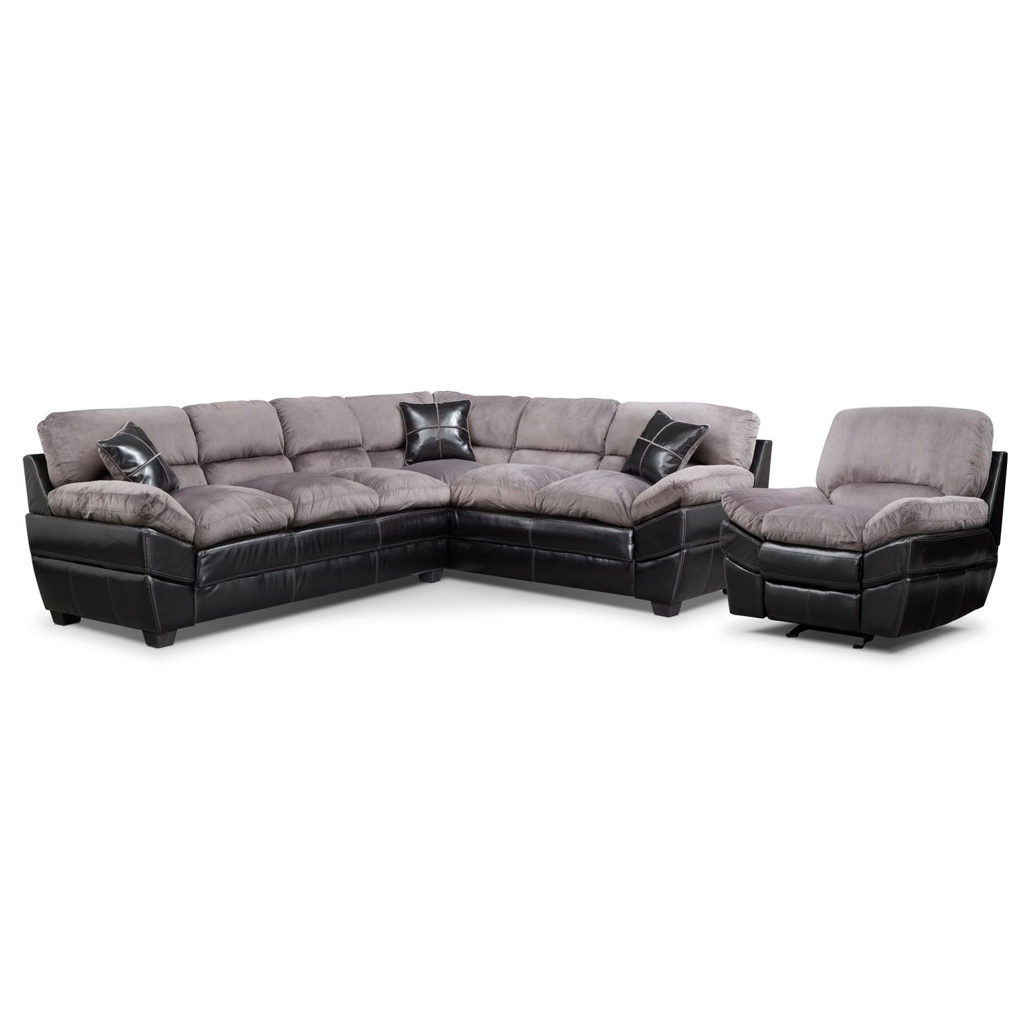 Chandler Gray II 2 Pc. Sectional and Glider Recliner