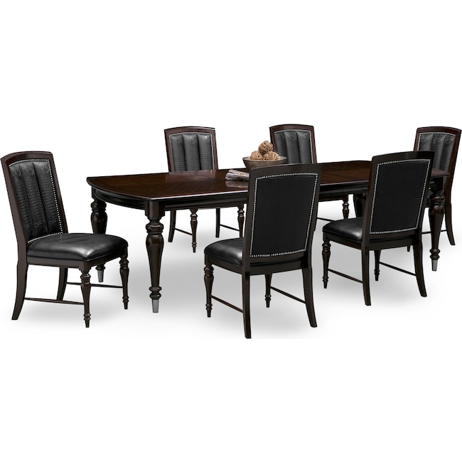 Esquire Table And 6 Chairs - Cherry | Value City Furniture