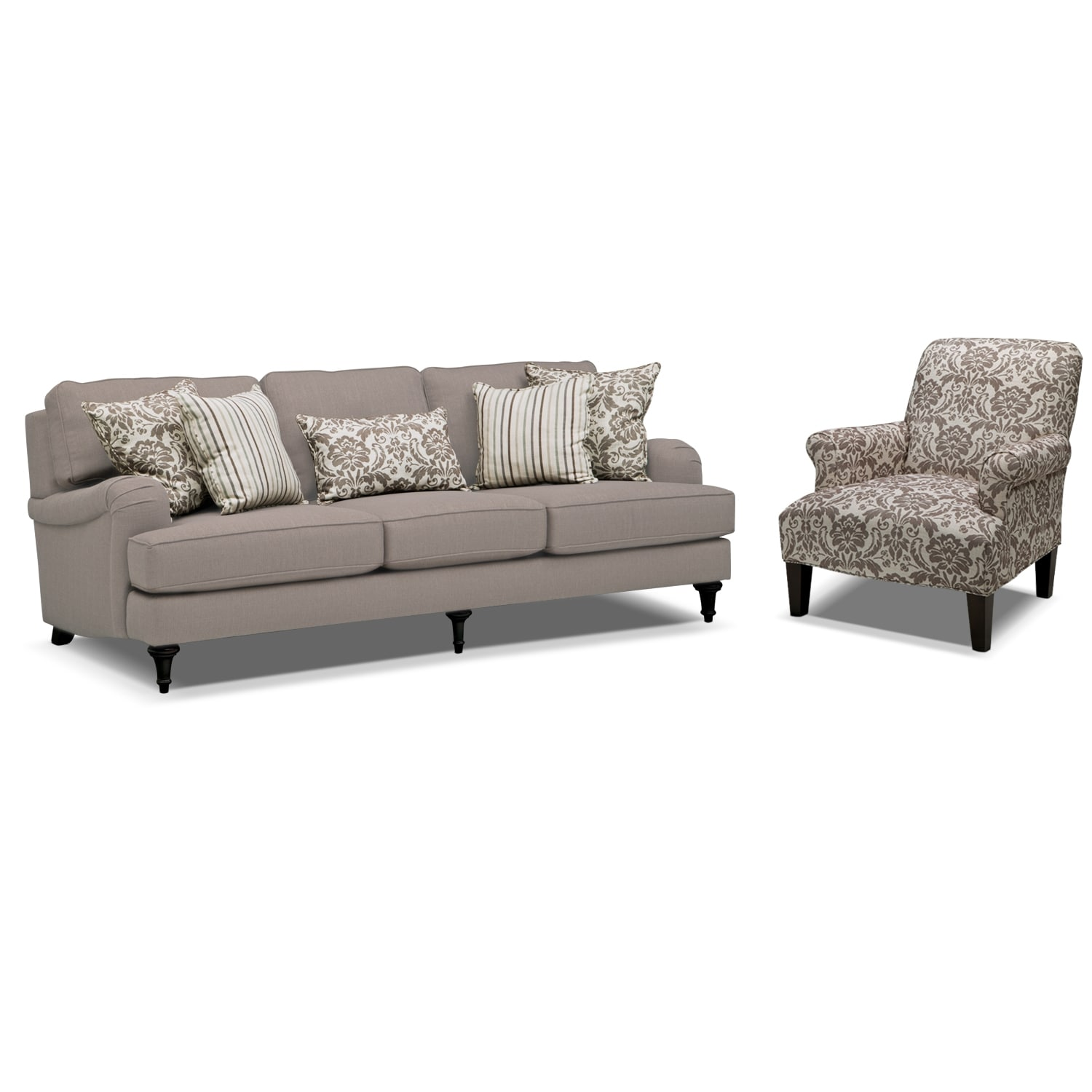 Living Room Furniture   Candice Sofa And Accent Chair Set   Gray