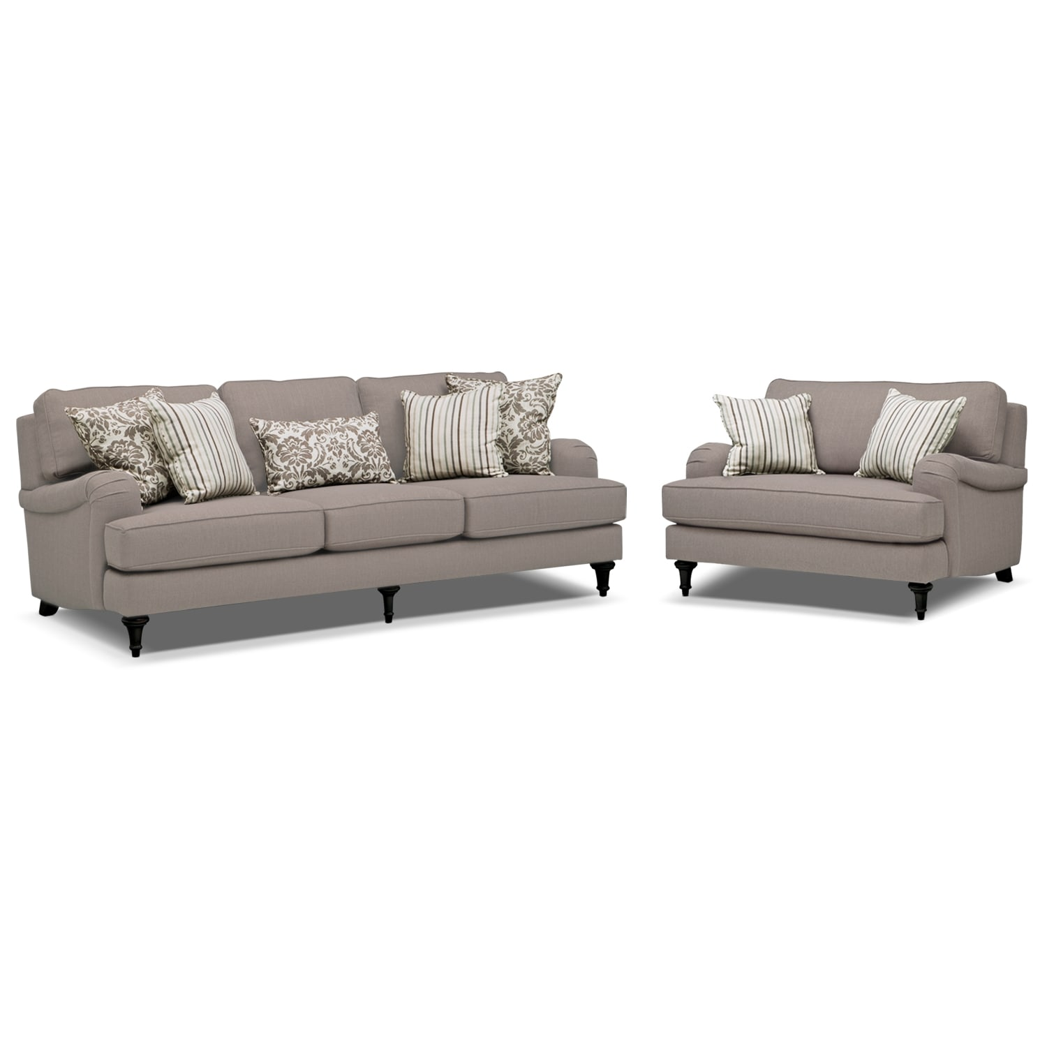 Living Room Furniture - Candice Sofa and Chair and a Half Set - Gray