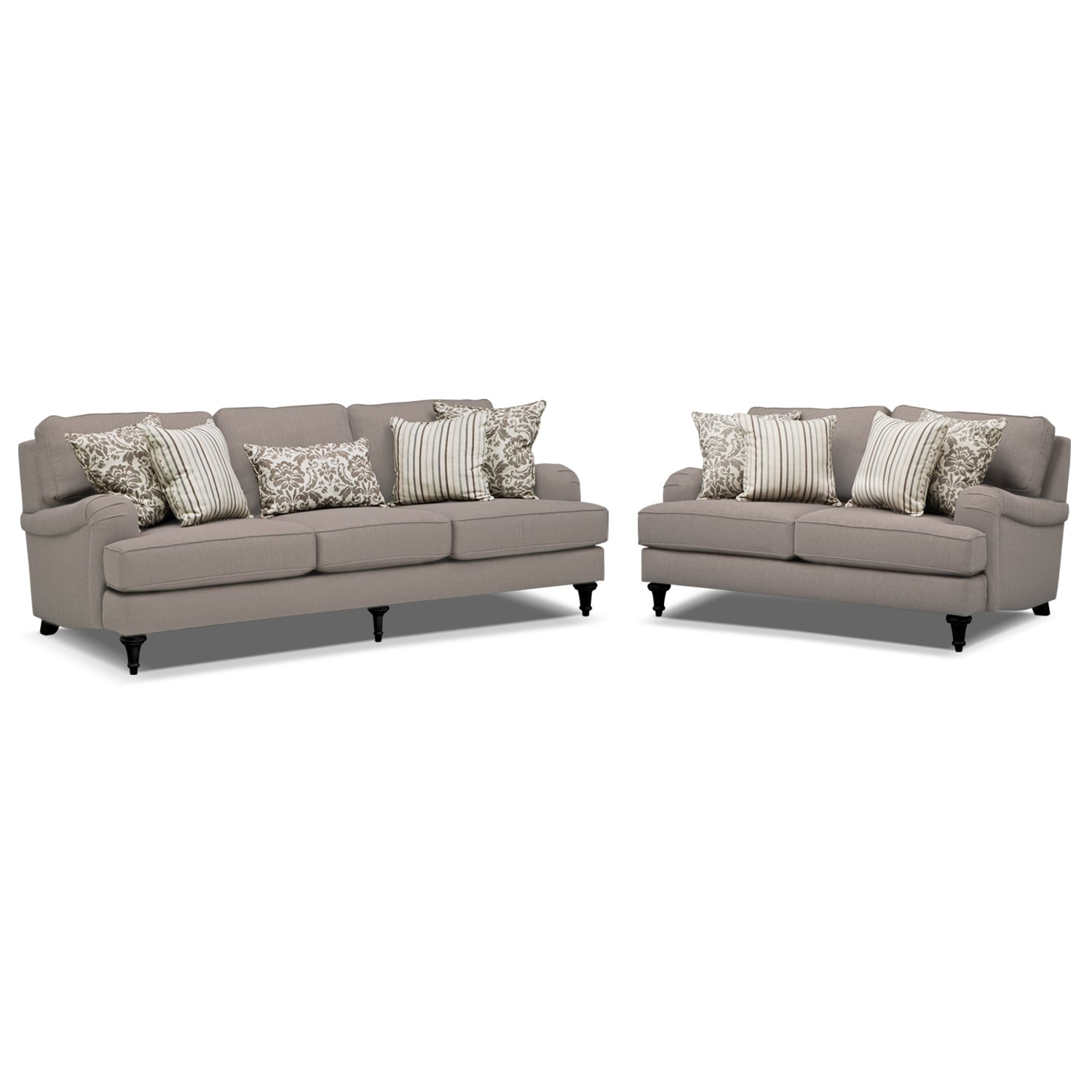 Candice Sofa and Loveseat Set - Gray