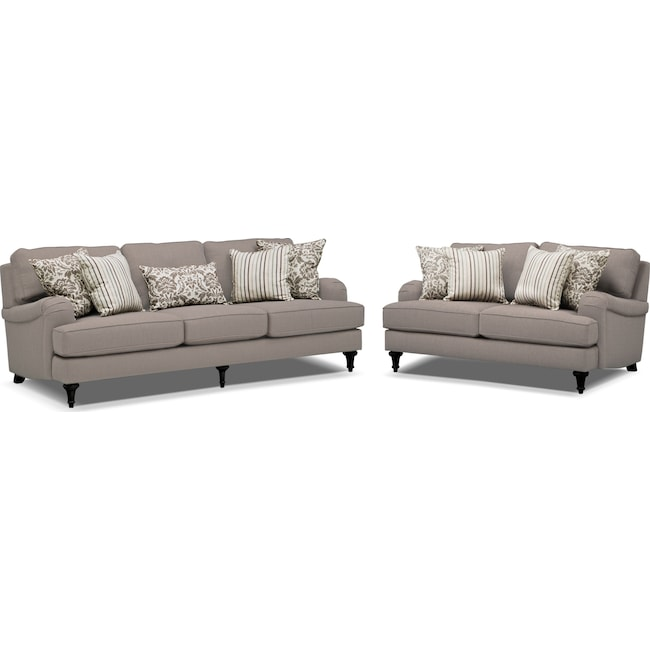 Living Room Furniture - Candice Sofa and Loveseat Set - Gray