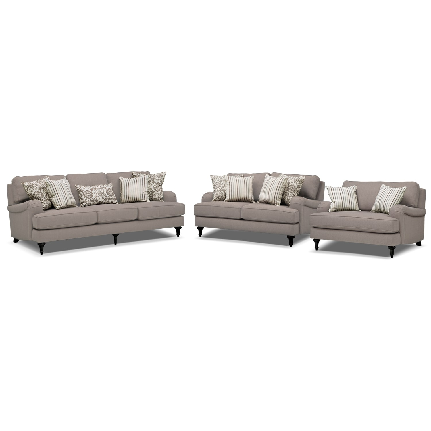 Living Room Furniture - Candice Sofa Loveseat and Chair and a Half Set - Gray  sc 1 st  Value City Furniture & Candice Sofa Loveseat and Chair and a Half Set - Gray | Value City ...