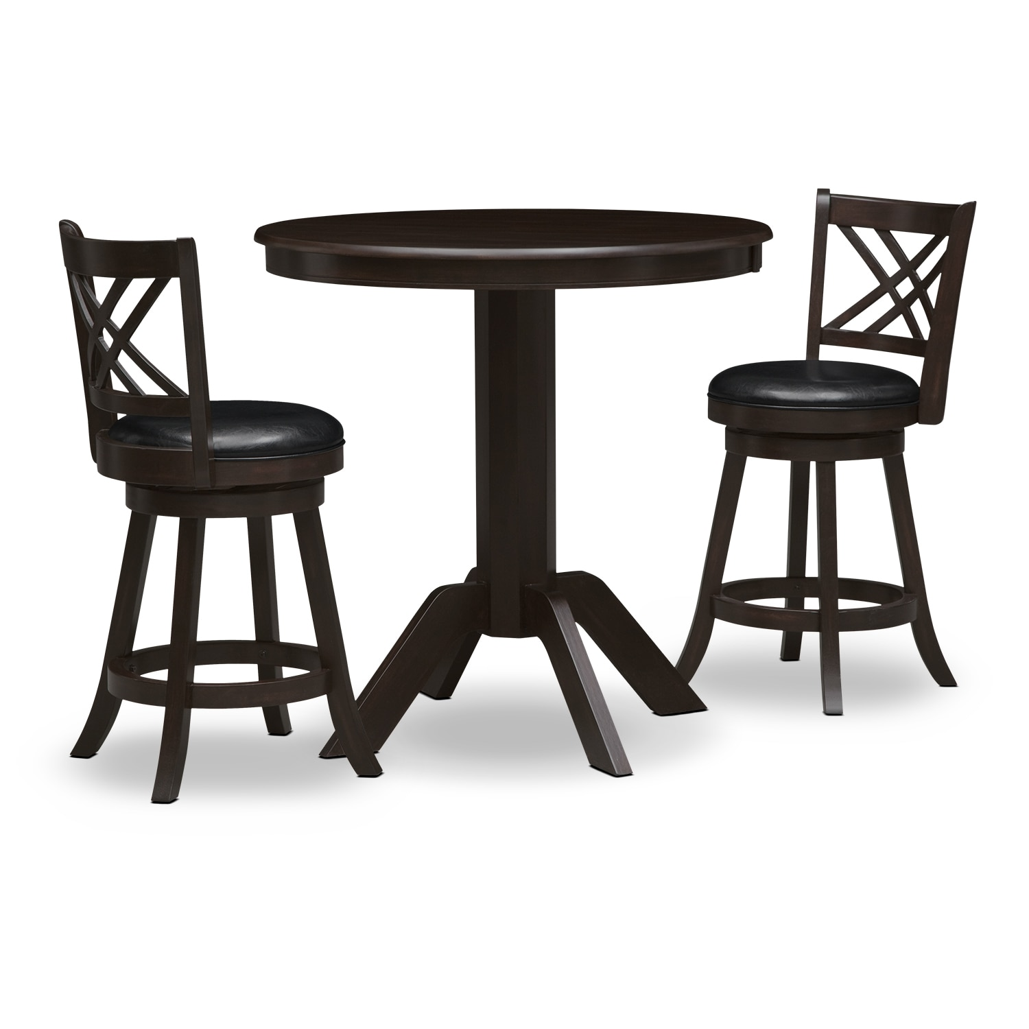 Dining Room Furniture - Concord Pub Table and 2 Merrimac Counter-Height Stools - Merlot