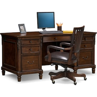 Ashland Executive Desk and Chair Set - Cherry