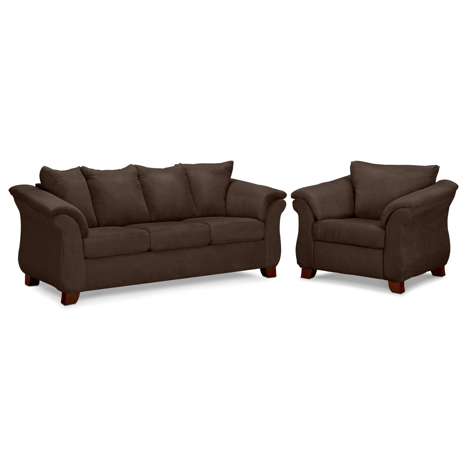 Living Room Furniture - Adrian Chocolate 2 Pc. Living Room w/ Chair