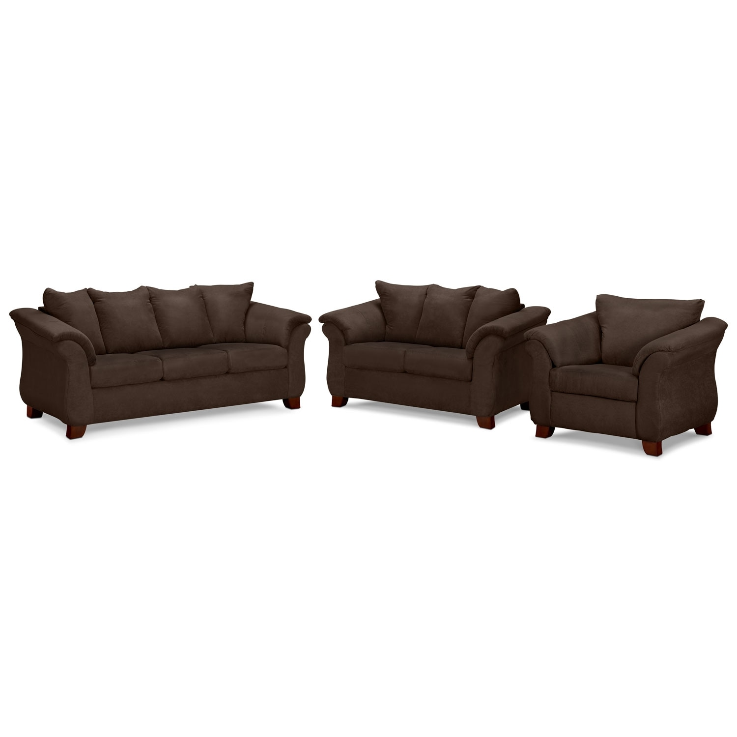 Adrian Sofa, Loveseat and Chair Set - Chocolate