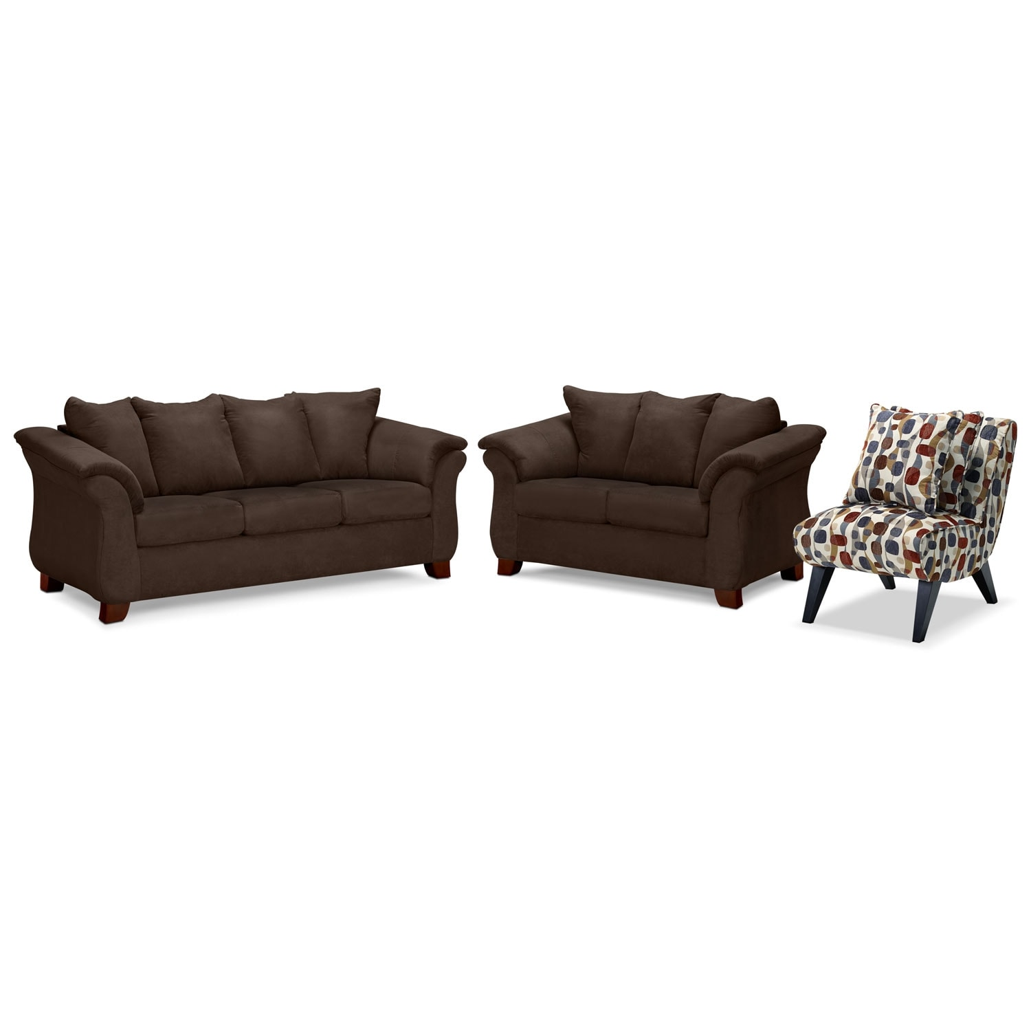Living Room Furniture - Adrian Sofa, Loveseat and Accent Chair Set - Chocolate