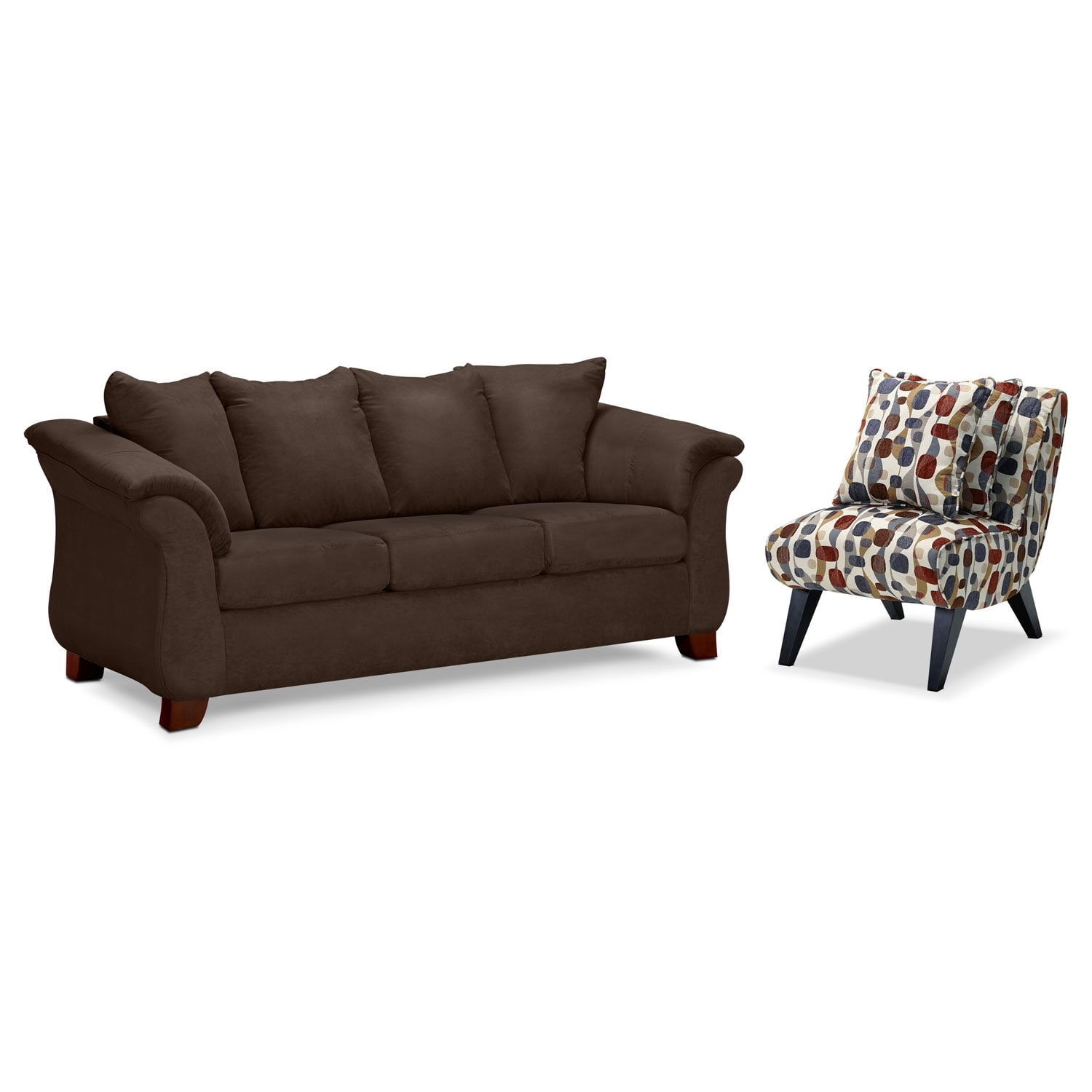 Adrian Sofa and Accent Chair Set - Chocolate