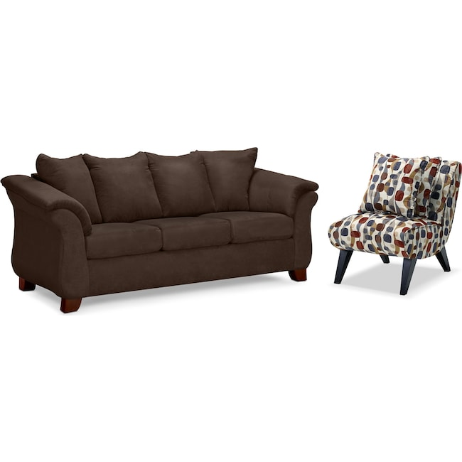 Living Room Furniture - Adrian Sofa and Accent Chair Set - Chocolate