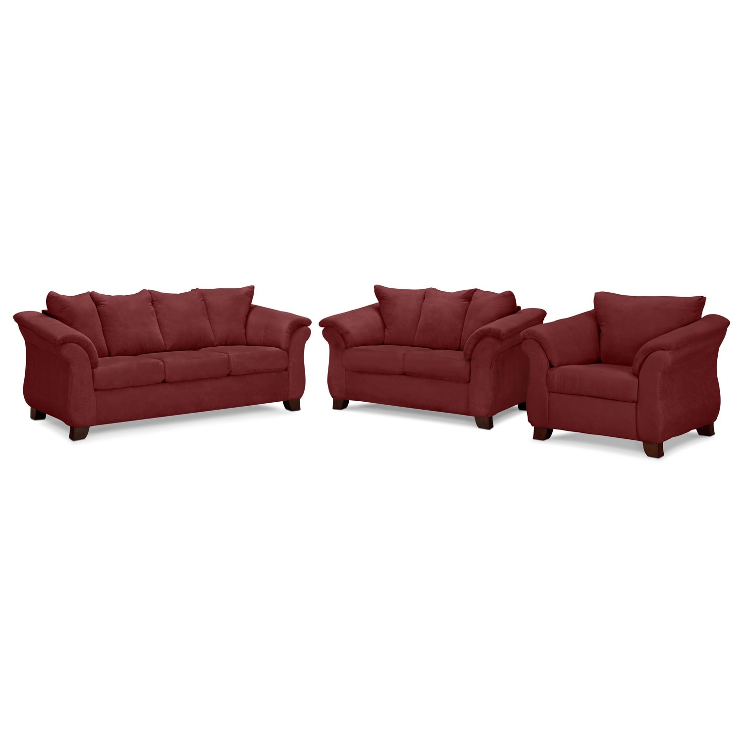 Living Room Furniture - Adrian Sofa, Loveseat and Chair Set - Red