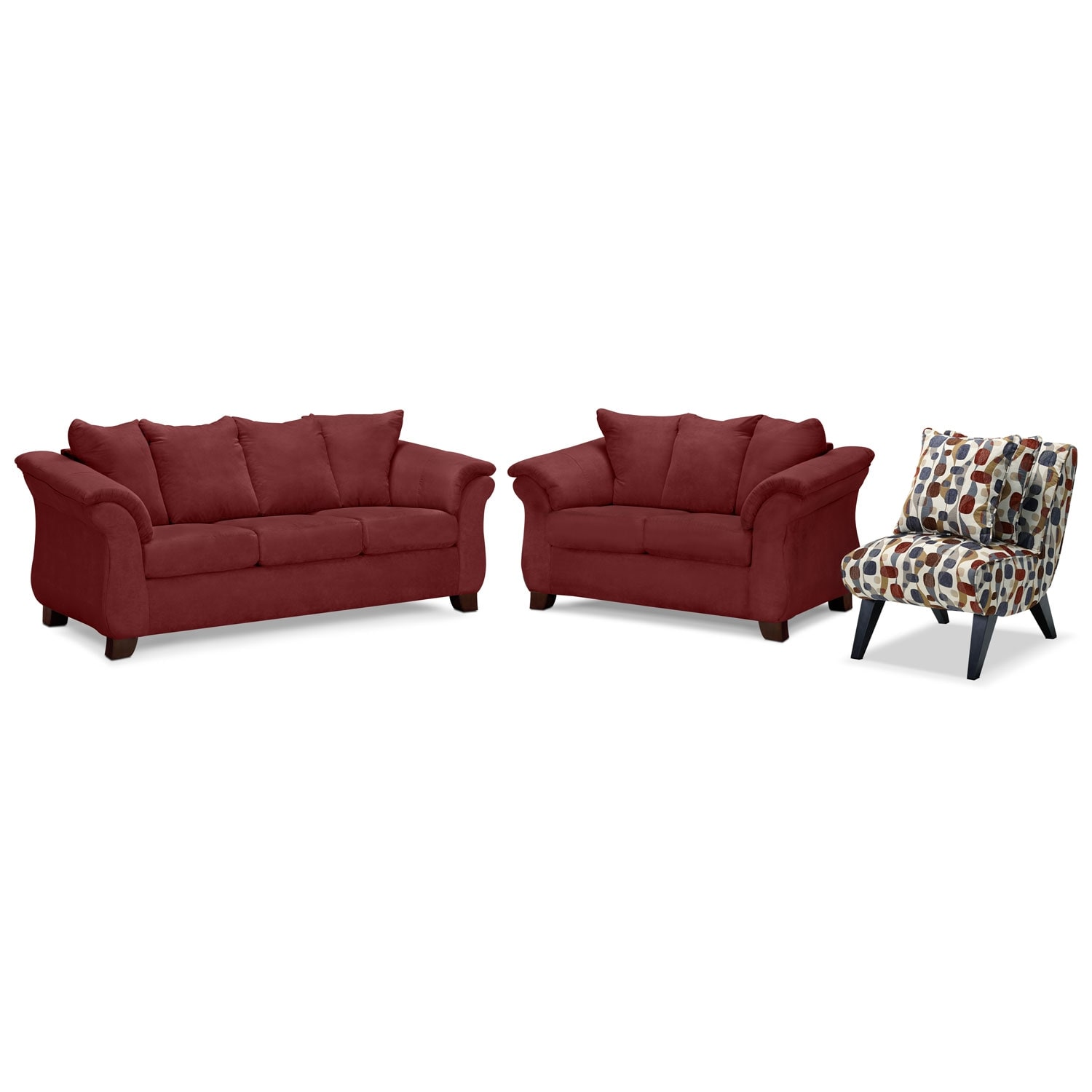 Adrian Sofa, Loveseat and Accent Chair Set - Red