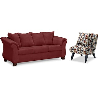 Adrian Sofa and Accent Chair Set - Red
