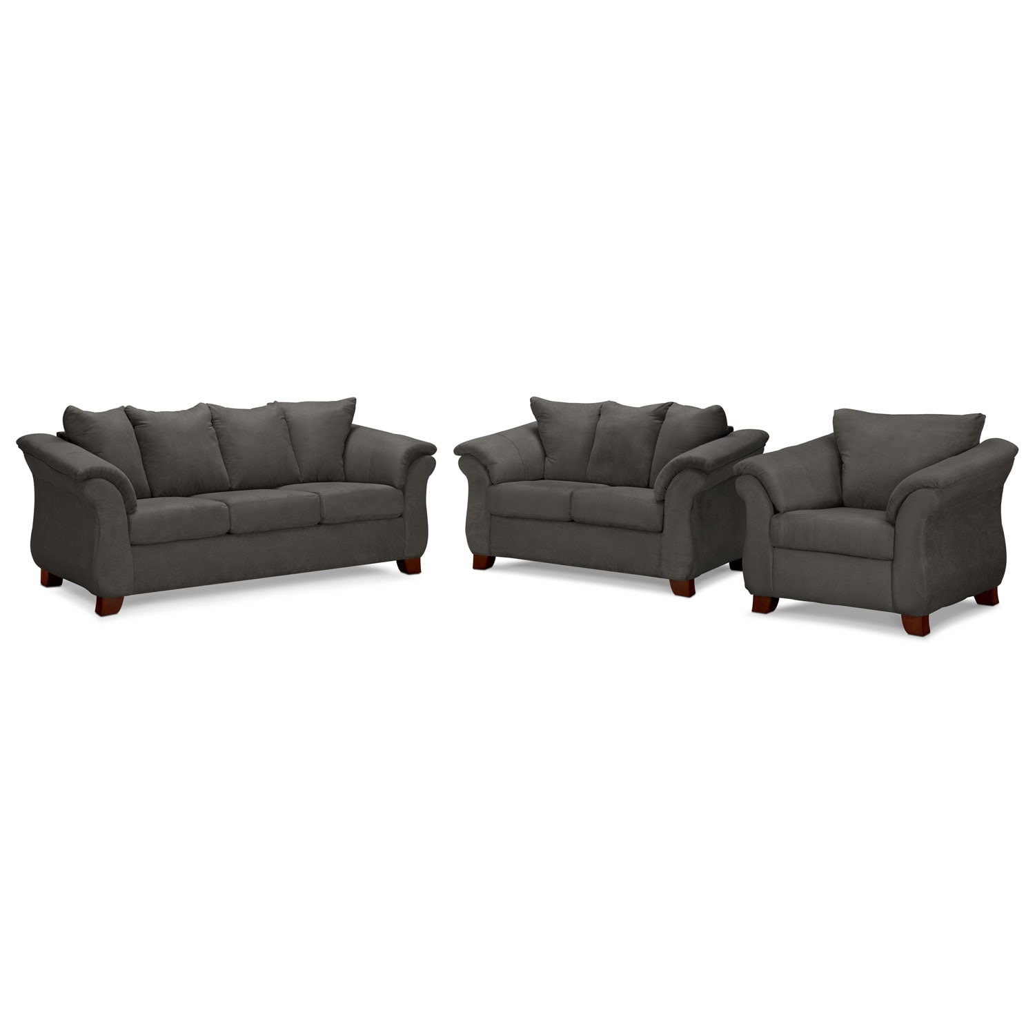 Living Room Furniture - Adrian Sofa, Loveseat and Chair Set - Graphite