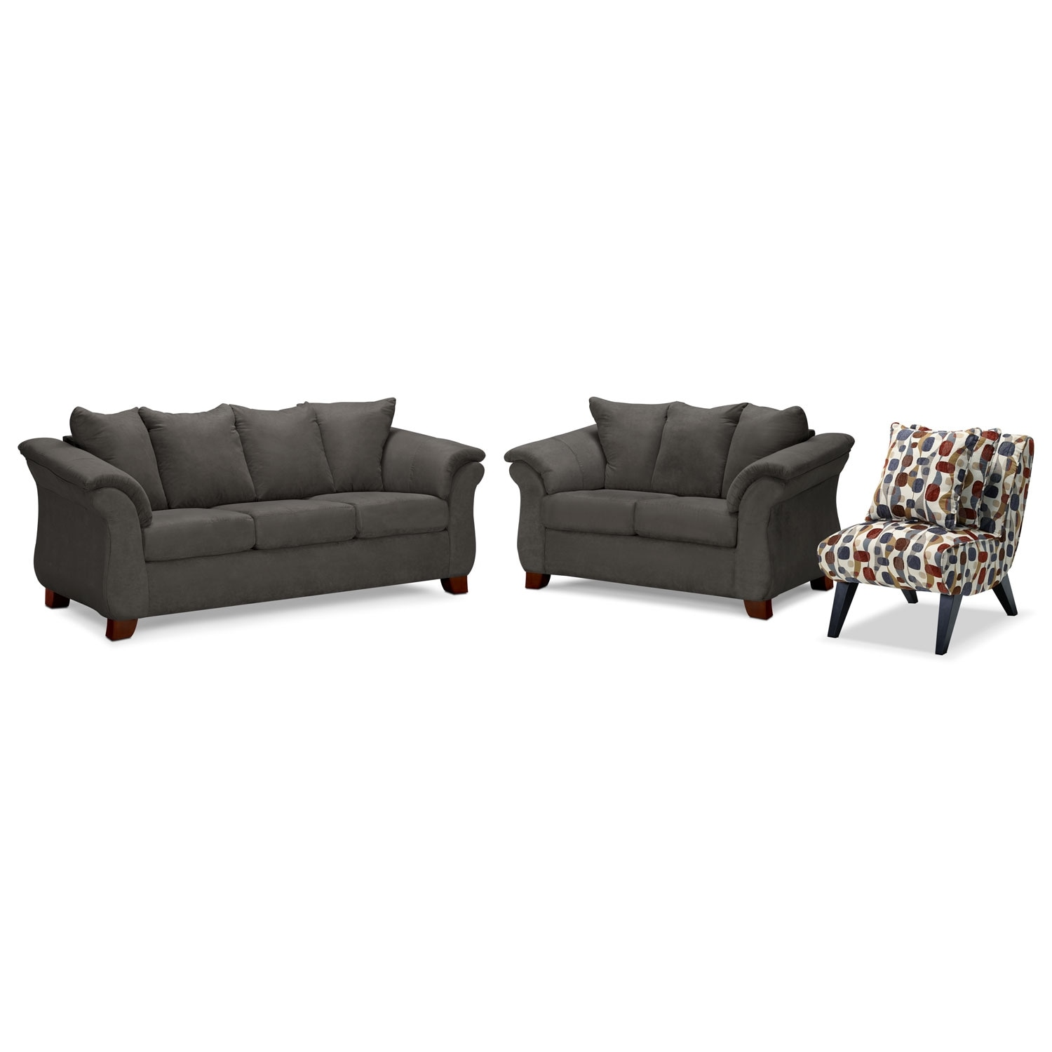 Adrian Sofa, Loveseat and Accent Chair Set - Graphite