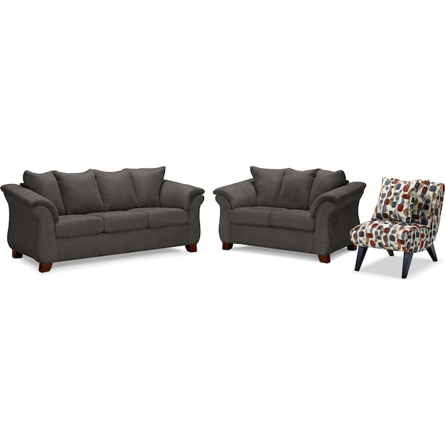 Living Room Furniture - Adrian Sofa, Loveseat and Accent Chair Set - Graphite