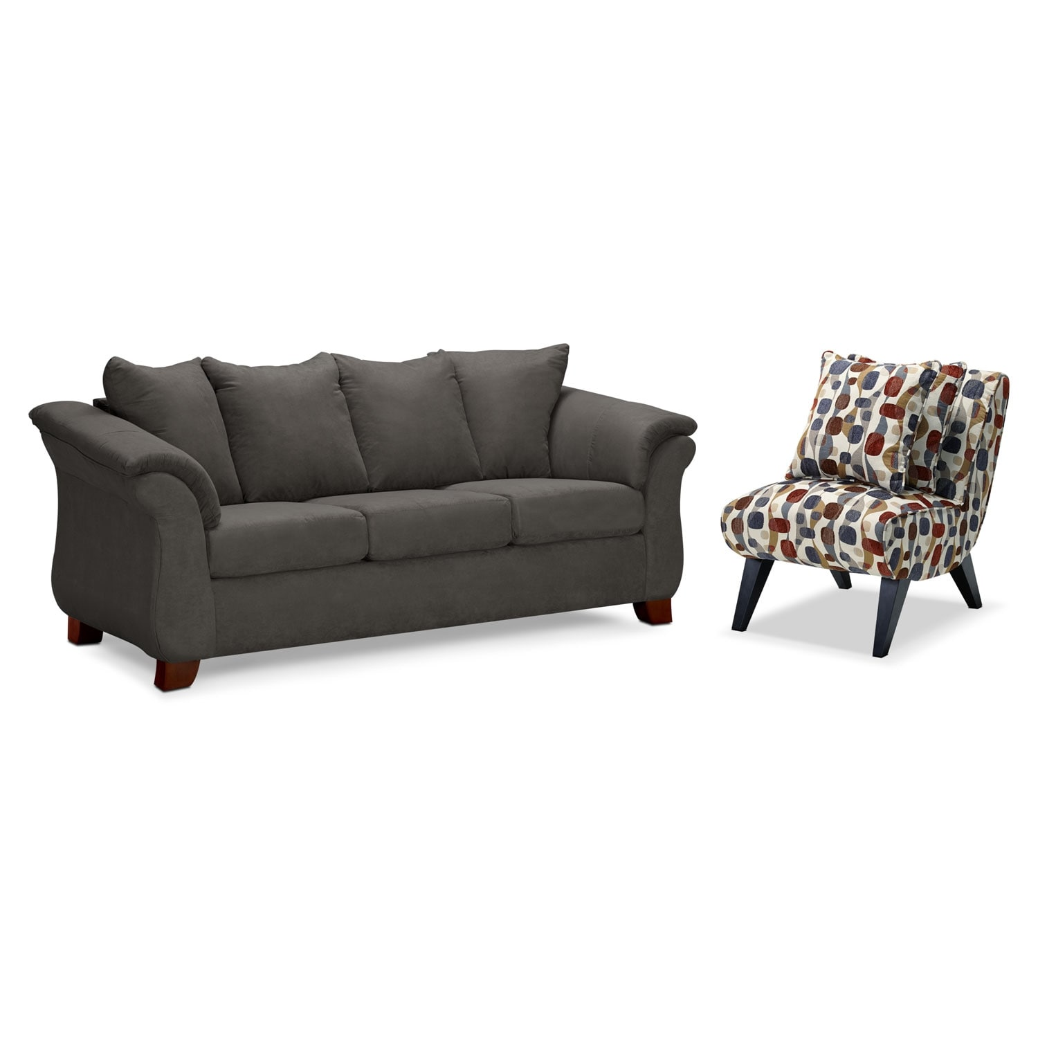 Living Room Furniture - Adrian Sofa and Accent Chair Set - Graphite