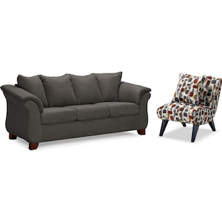Adrian Sofa and Accent Chair Set - Graphite
