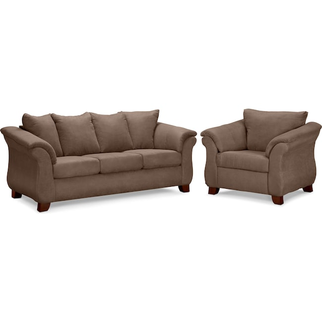 Living Room Furniture - Adrian Sofa and Chair Set - Taupe