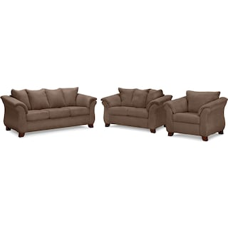 Adrian Sofa, Loveseat and Chair Set - Taupe