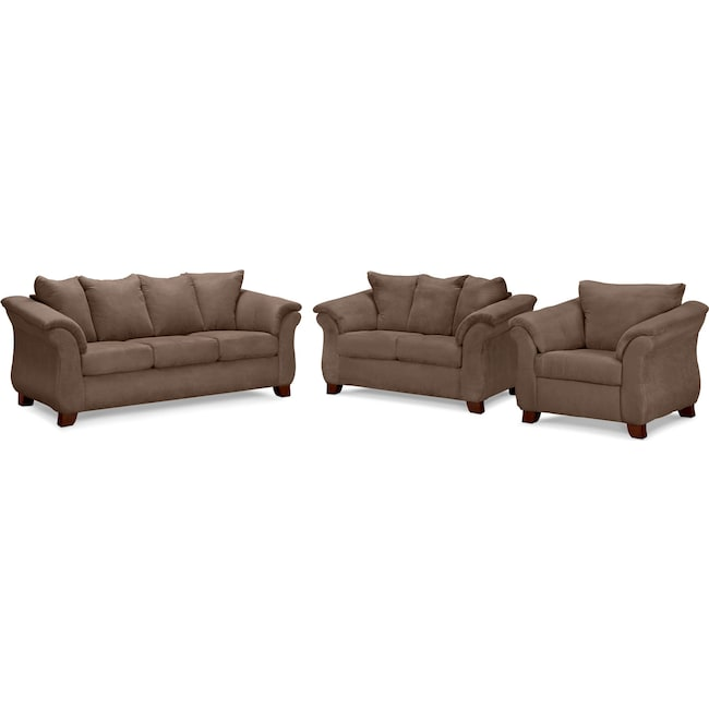 Living Room Furniture - Adrian Sofa, Loveseat and Chair Set - Taupe