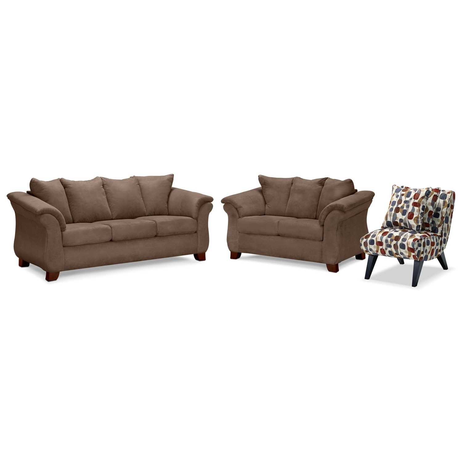 Living Room Furniture - Adrian Taupe 3 Pc. Living Room w/ Accent Chair