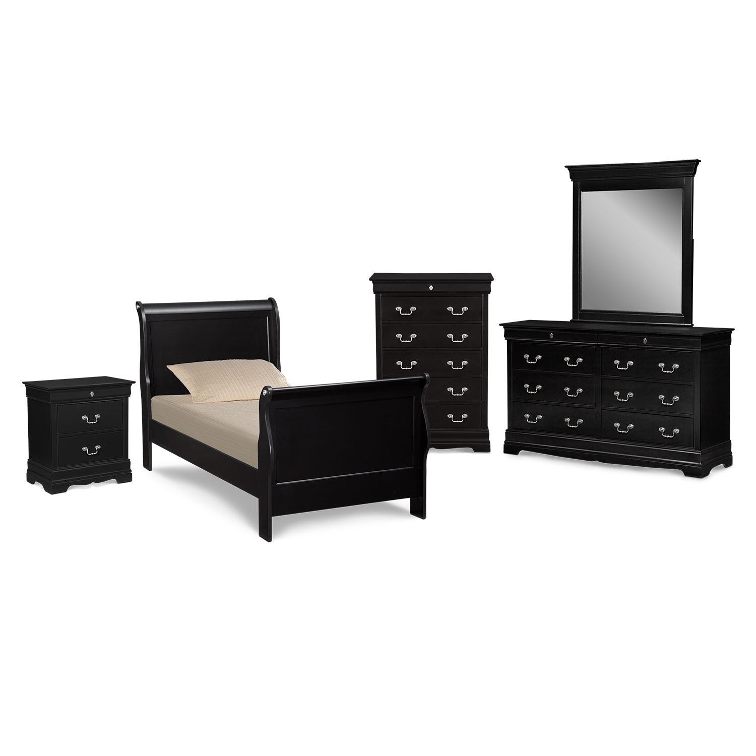 Kids Furniture - Neo Classic Youth 7-Piece Full Bedroom Set - Black