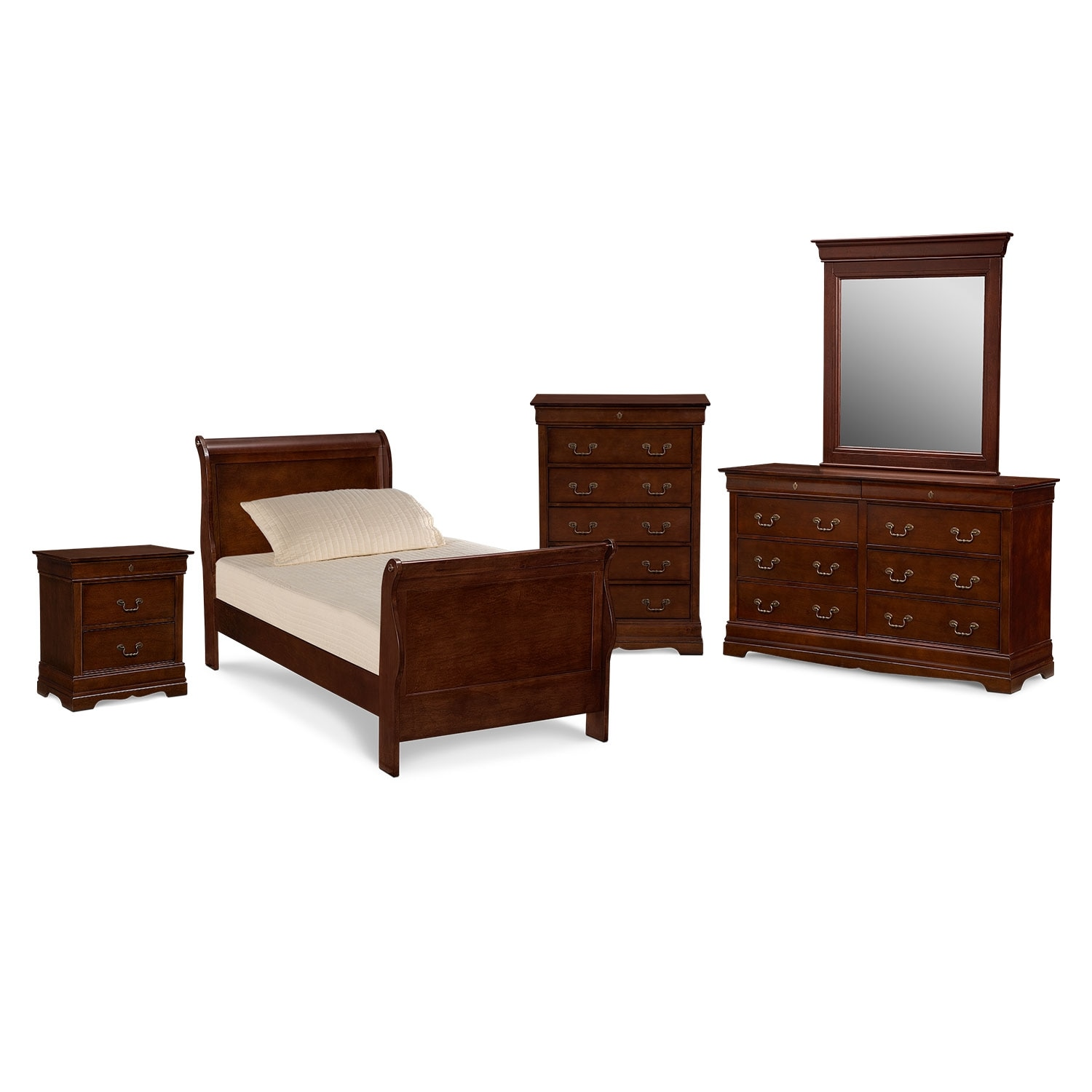 Kids Furniture Neo Classic Youth 7 Piece Twin Bedroom Set Cherry