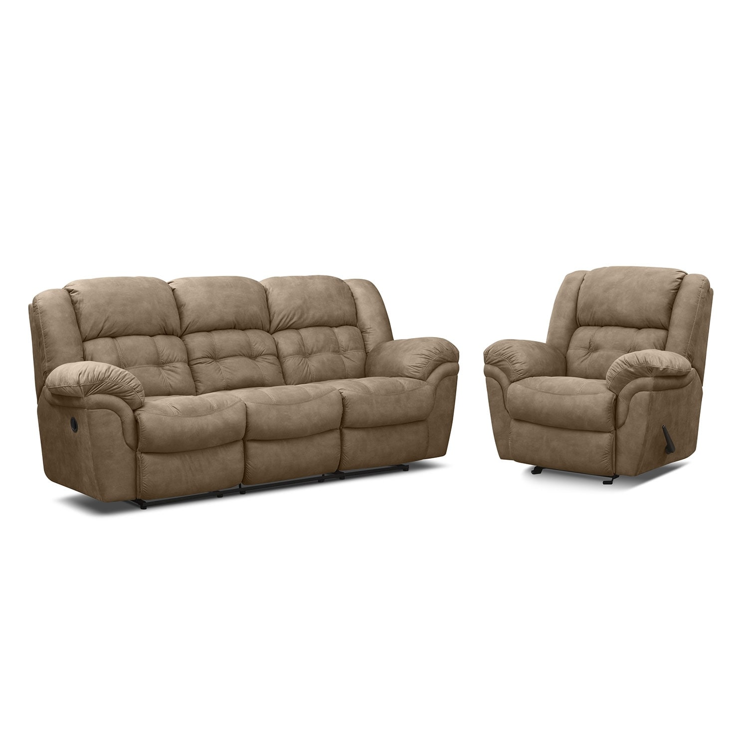 Living Room Furniture - Lancer Manual Reclining Sofa and Glider Recliner - Pecan