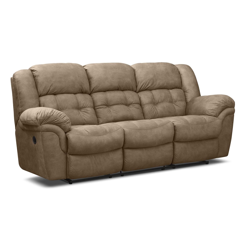 Living Room Furniture - Lancer Pecan Reclining Sofa