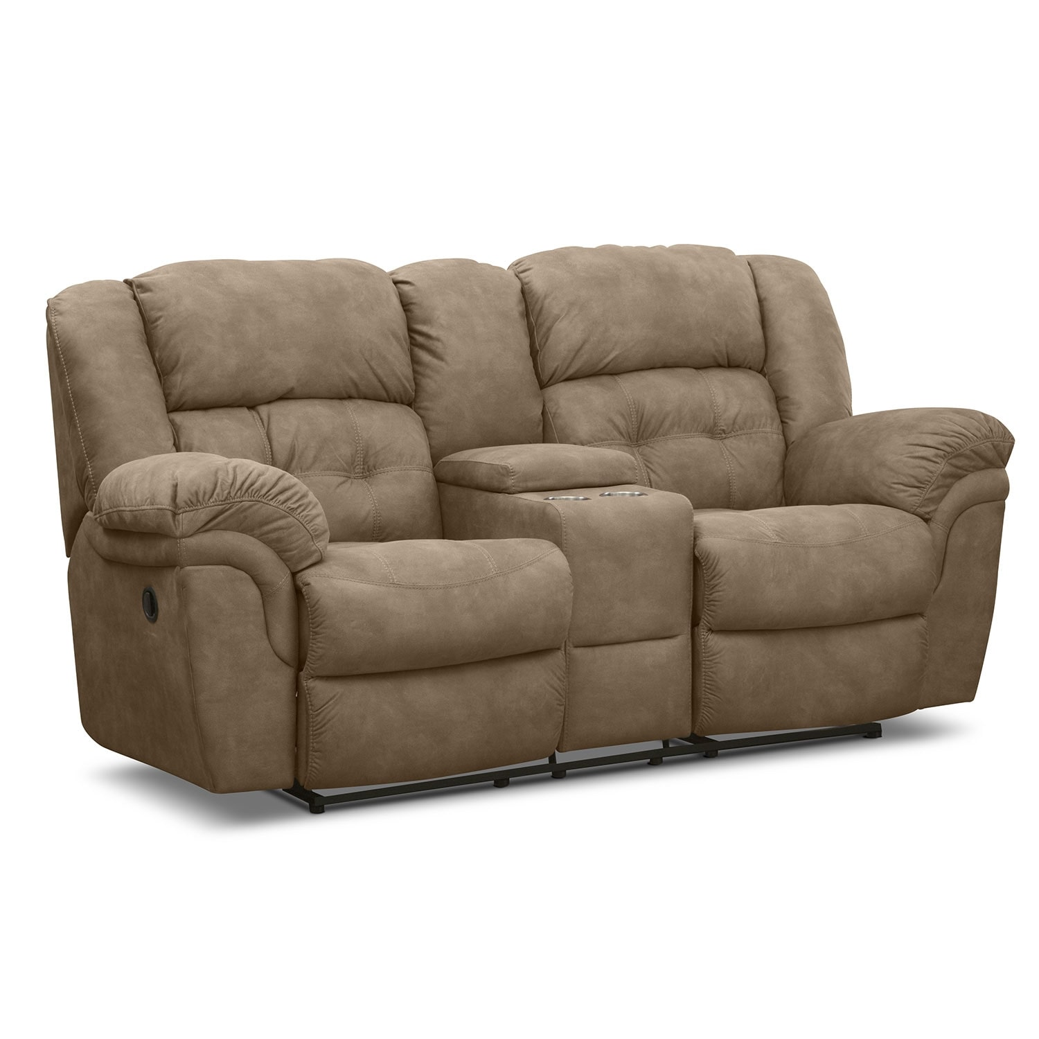 Living Room Furniture - Lancer Manual Reclining Loveseat with Console - Pecan