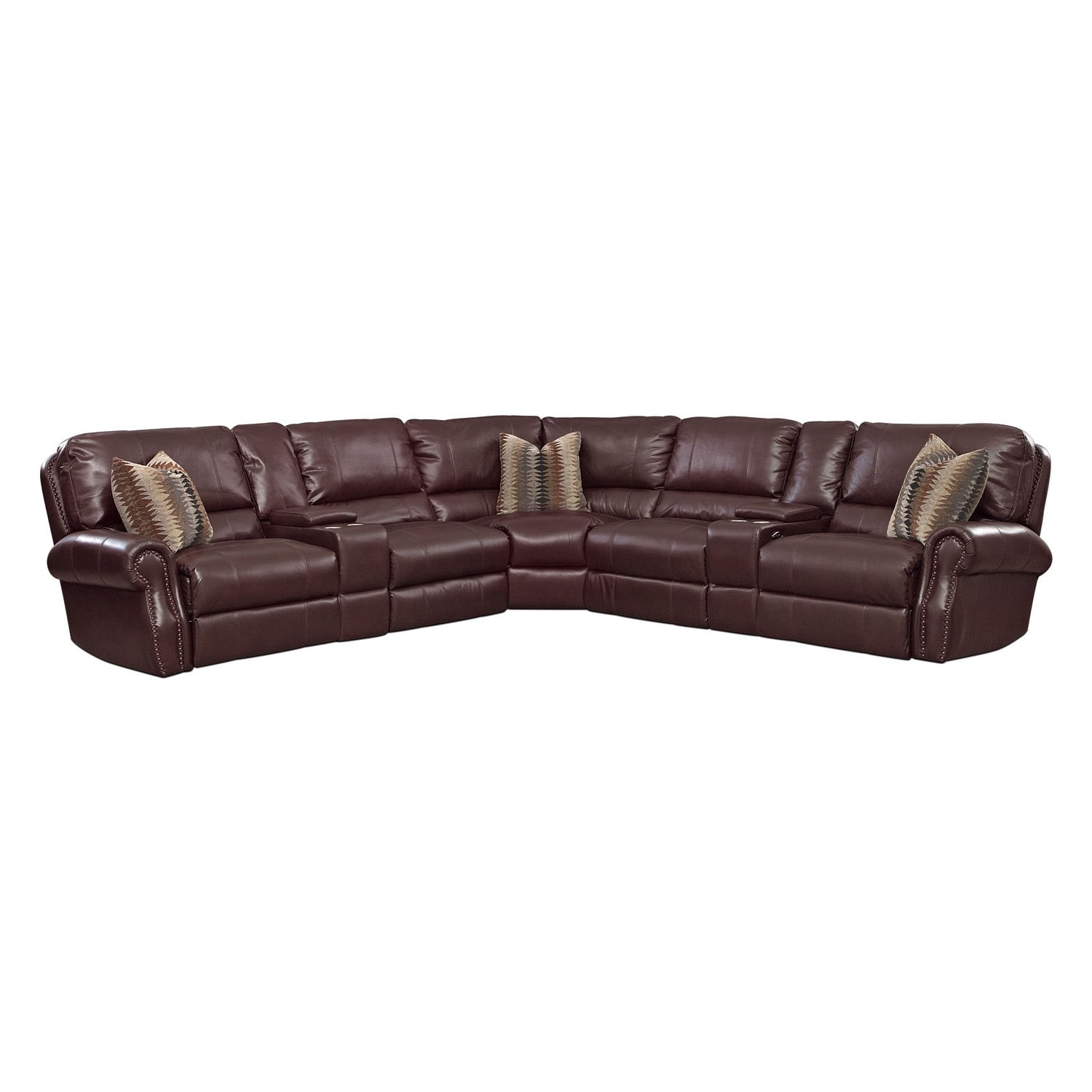 Living Room Furniture - Princeton 5 Pc. Power Reclining Sectional (Alternate Reverse