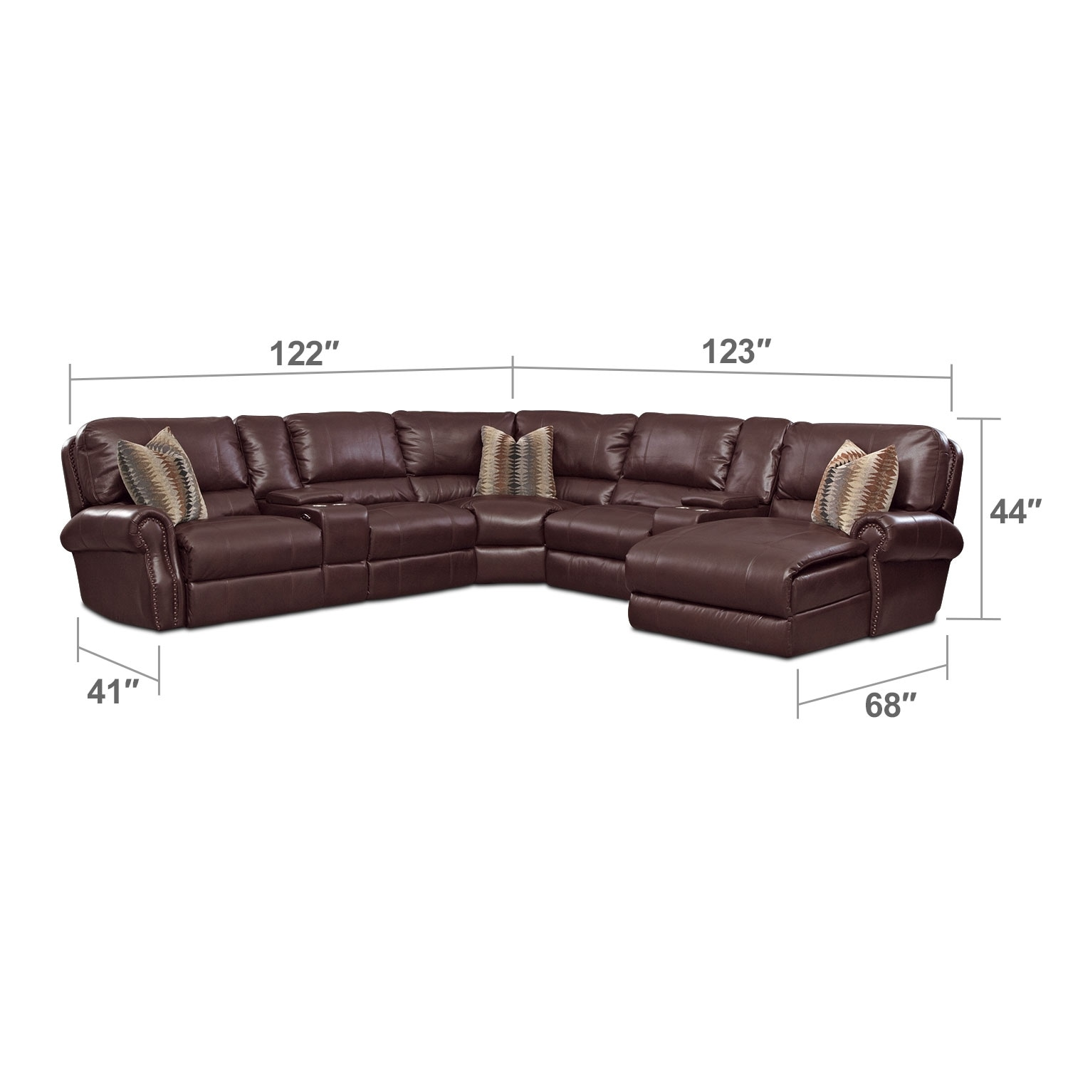 Living Room Furniture - Princeton 5 Pc. Power Reclining Sectional