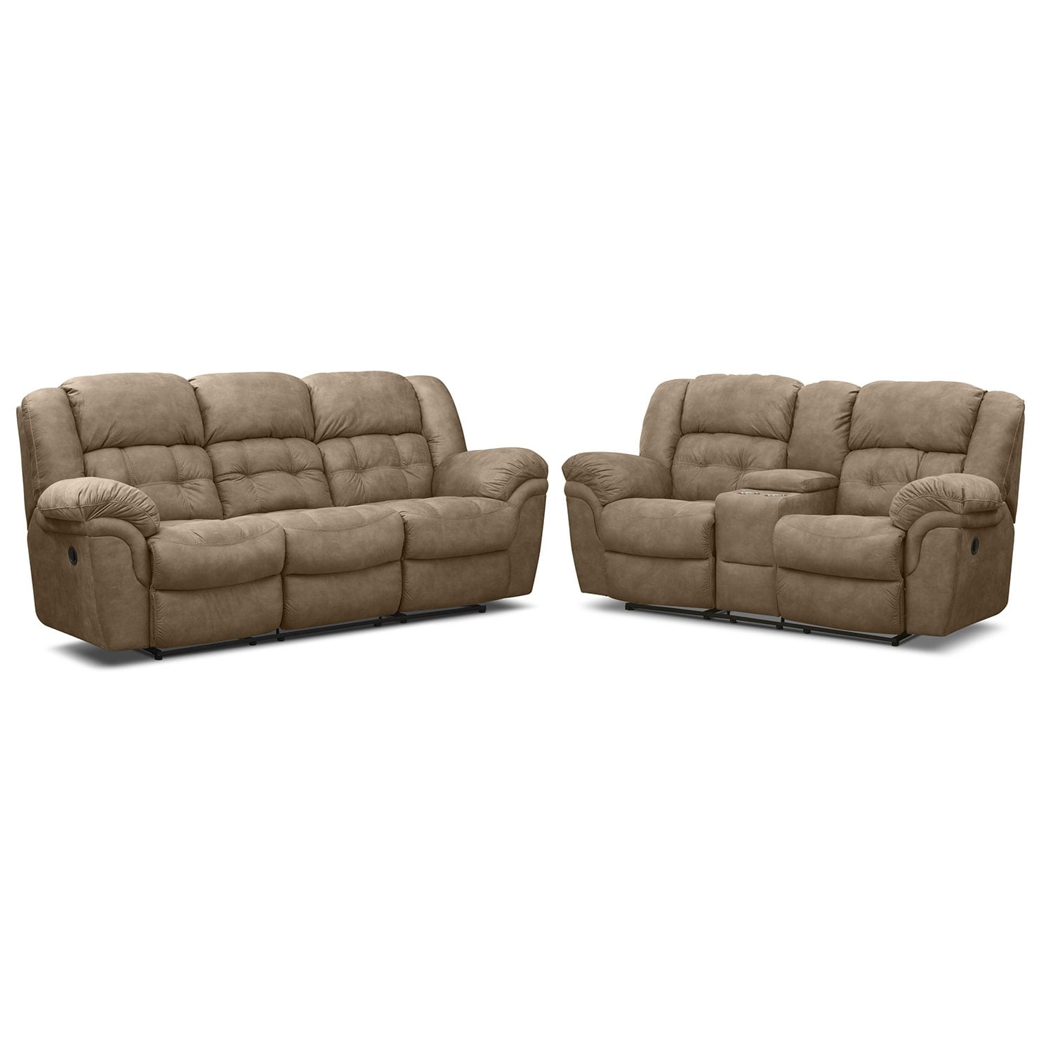 Living Room Furniture - Lancer Pecan 2 Pc. Reclining Living Room