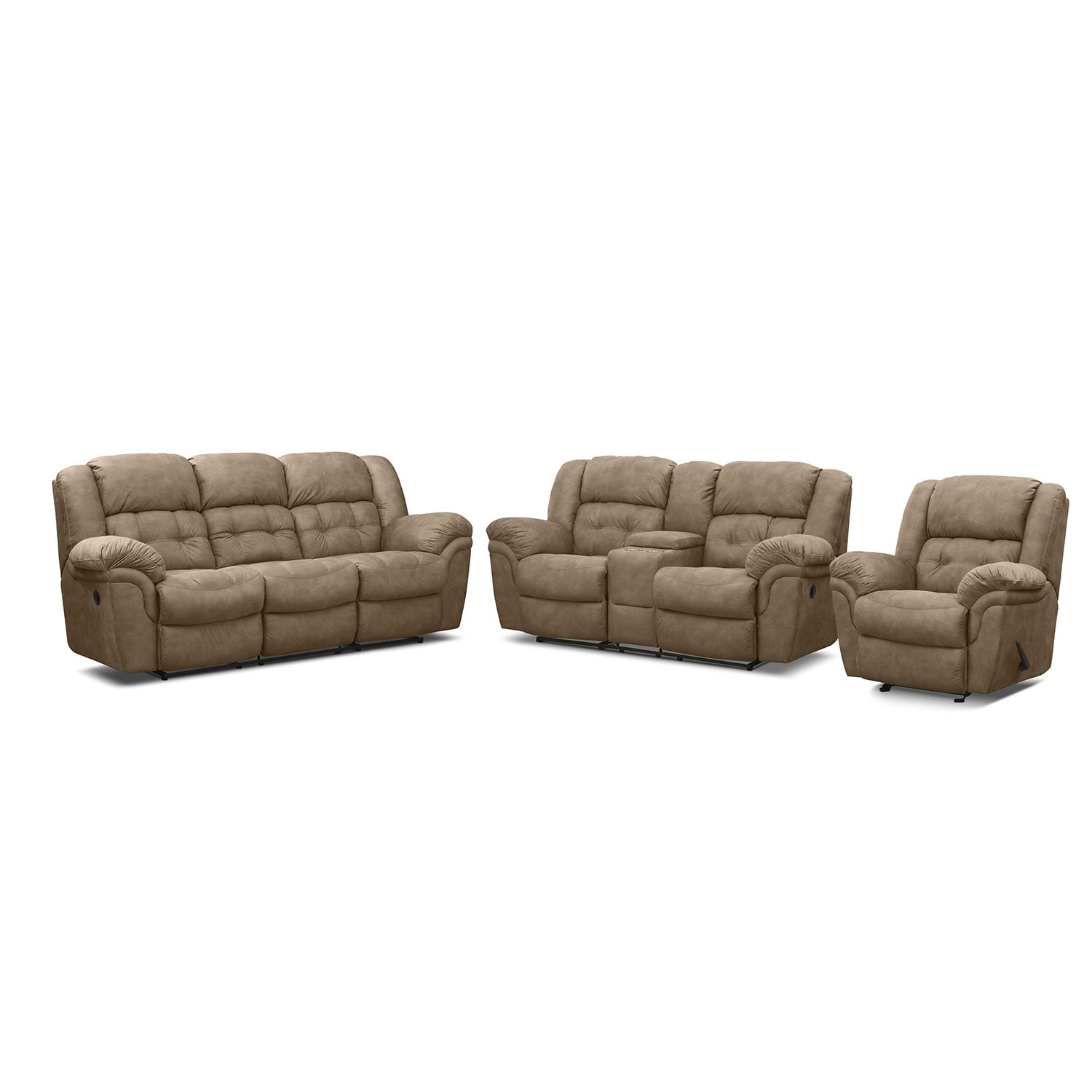 Living Room Furniture - Lancer Pecan 3 Pc. Reclining Living Room