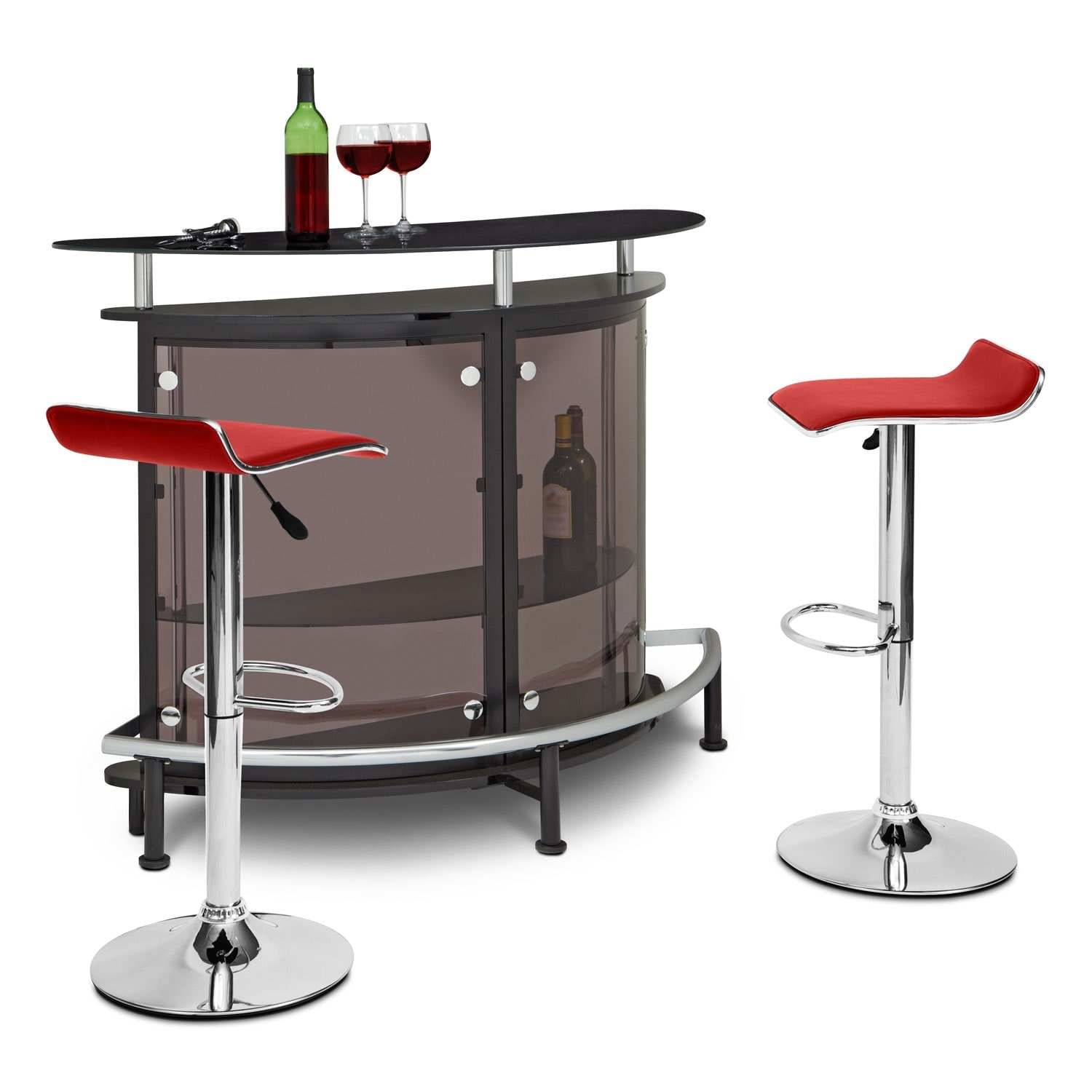 Accent and Occasional Furniture - Vegas Lisbon 3 Pc. Bar Set