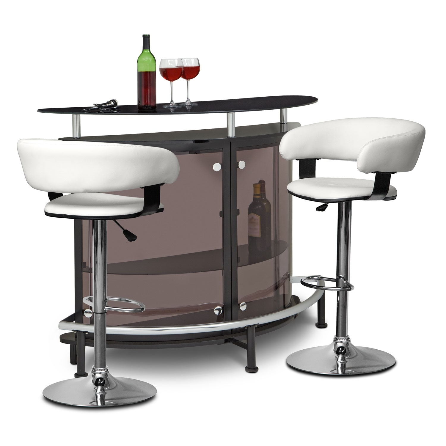 Accent and Occasional Furniture - Vegas Glasgo 3 Pc. Bar Set