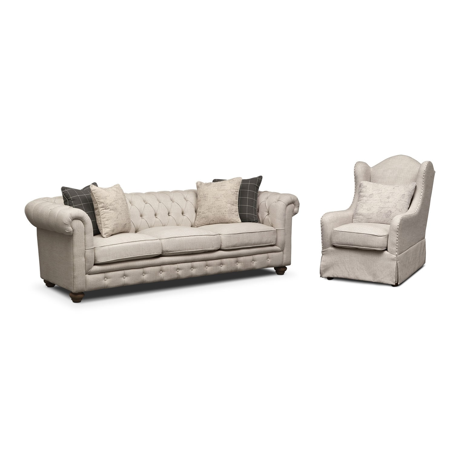 Madeline Sofa and Accent Chair Set - Beige