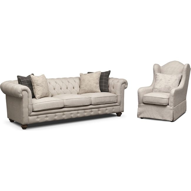 Living Room Furniture - Madeline Sofa and Accent Chair Set - Beige
