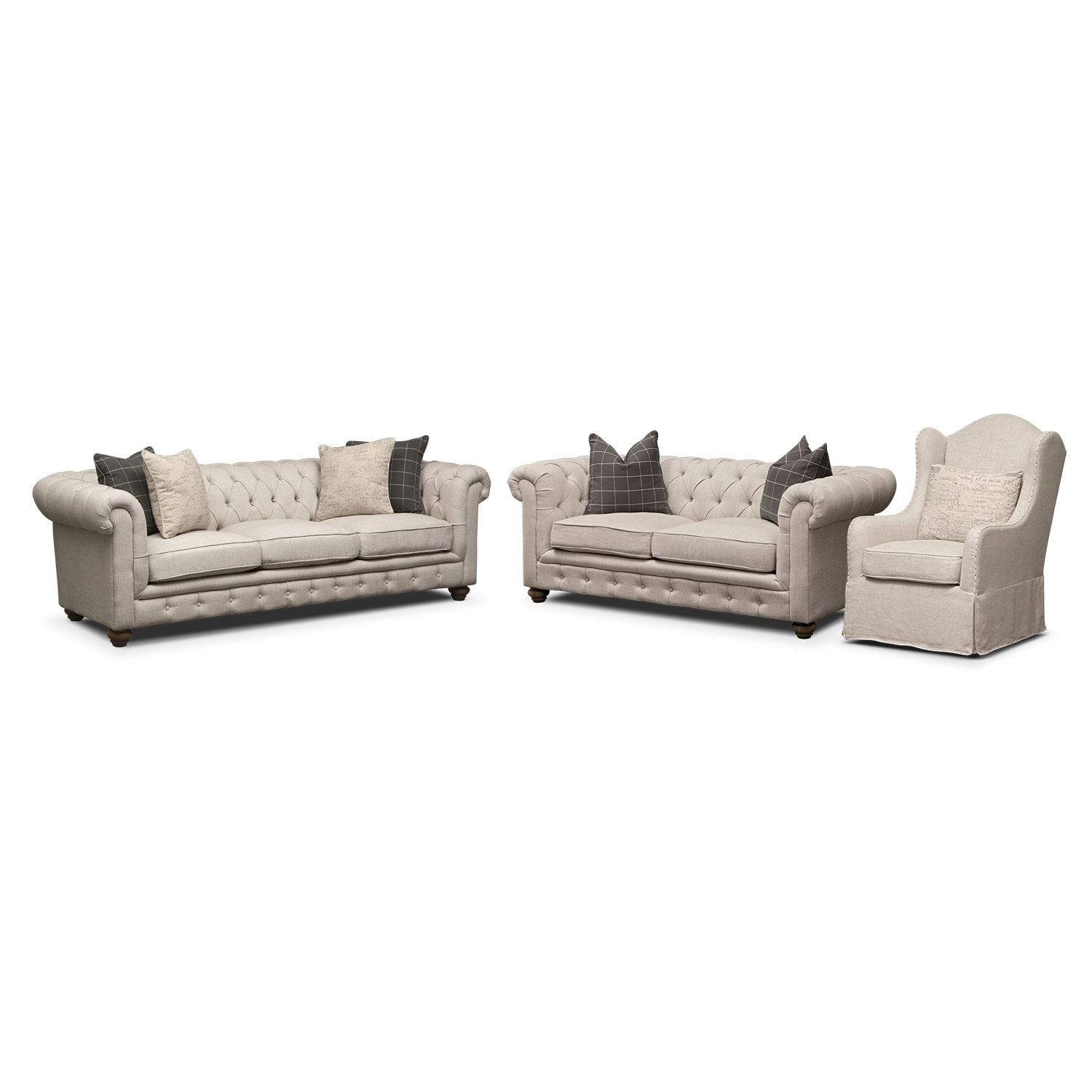 Living Room Furniture - Madeline Sofa, Apartment Sofa and Accent Chair Set - Beige