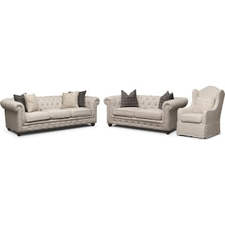 Madeline Sofa, Apartment Sofa and Accent Chair Set - Beige