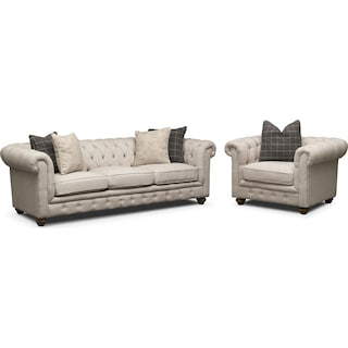 Madeline Sofa and Chair Set - Beige