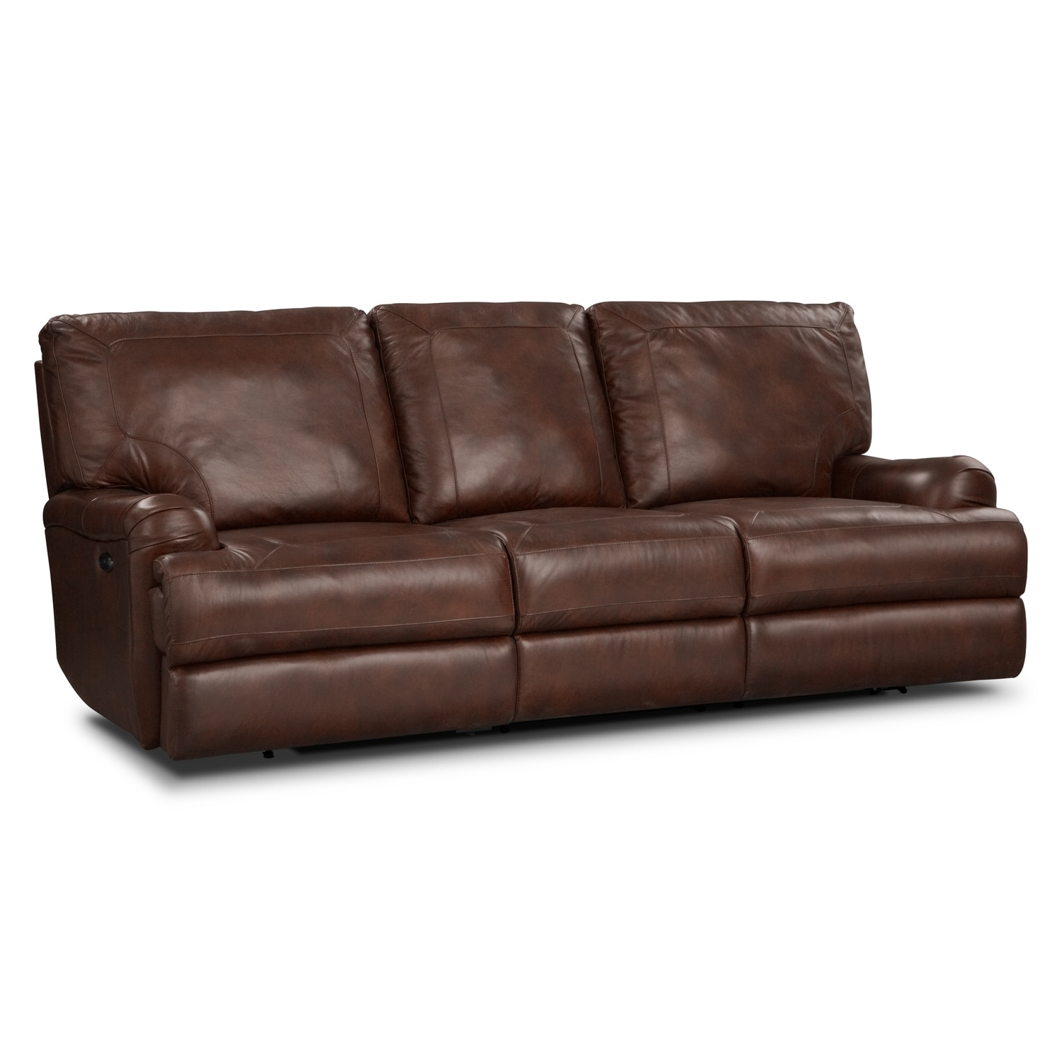 Kingsway Power Reclining Sofa - Brown | Value City Furniture
