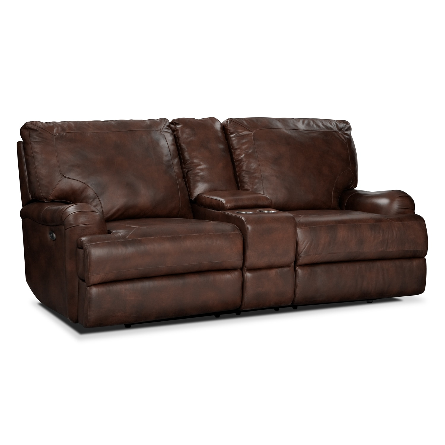 Kingsway Power Reclining Loveseat with Console - Brown | Value City Furniture  sc 1 st  Value City Furniture : power reclining loveseats with console - islam-shia.org