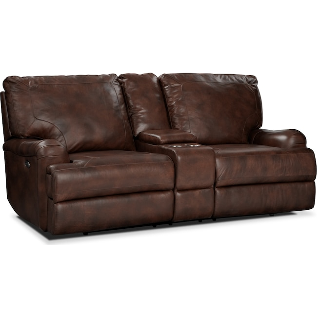 Living Room Furniture - Kingsway Power Reclining Loveseat with Console - Brown